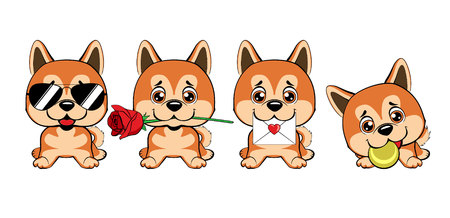 Sitting Akita Inu illustration. a set of dogs with hearts to the Valentine's Day