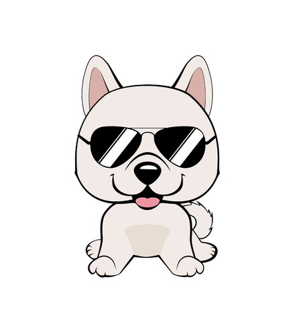Cute vector cool dog, puppy isolated on white, Eskimo Dog or Spitz in sunglasses Illustration