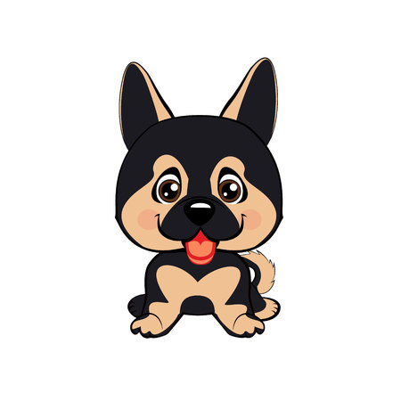 funny puppy animal white muzzle with pink cheeks and winking eyes. German Shepherd