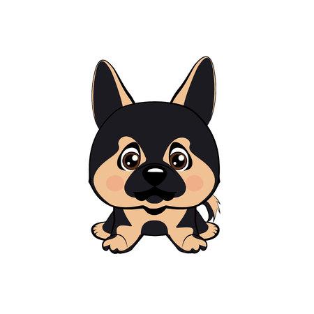 Vector illustration of Angry Dog. German Shepherd