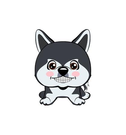 Vector illustration of Angry Dog. dog Alaskan Malamute.