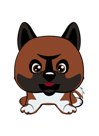 Vector illustration of Angry Dog. Dog American Akita. Illustration