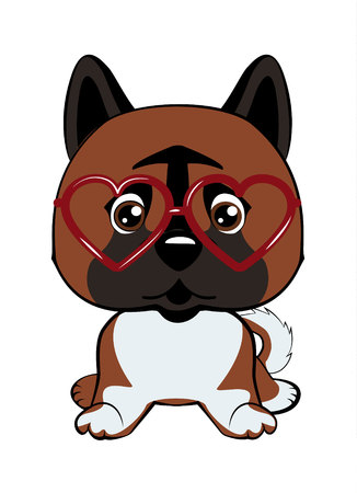 Card of a Valentine s Day. Dog American Akita in a striped cardigan, in a fun pink heart glasses. Vector illustration.