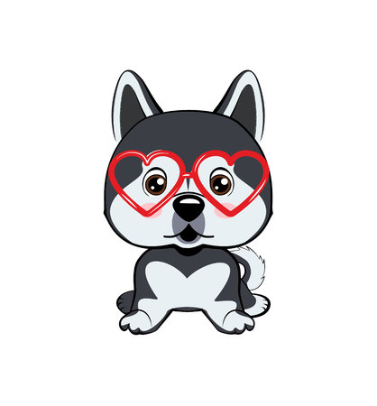 Card of a Valentine s Day. dog Alaskan Malamute in a striped cardigan, in a fun pink heart glasses. Vector illustration.