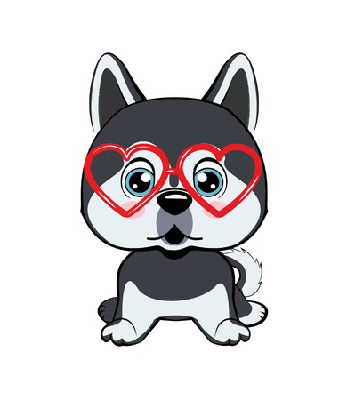 Card of a Valentine s Day. dog Alaskan Kli Kai in a striped cardigan, in a fun pink heart glasses. Vector illustration.  イラスト・ベクター素材