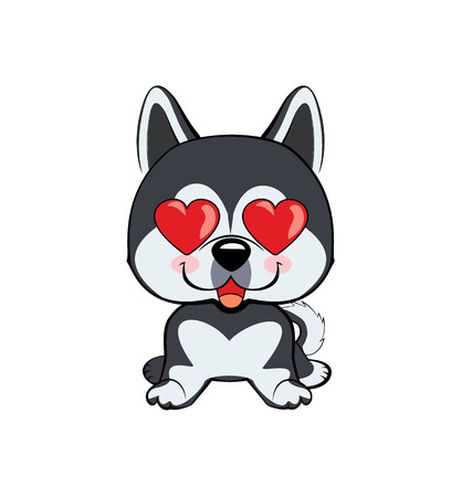 in love, kiss, romantic, relationship, happy, with heart eyes emotions. dog character illustrations in vector