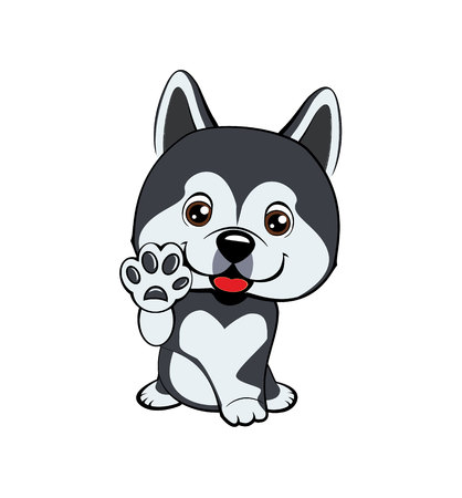 Children vector illustration of funny little Sitting puppy dog raised his front paw and looking up. cheerful puppy with a raised paw. linear drawing. dog Alaskan Malamute