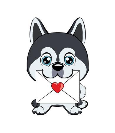 Cute fuzzy dog delivering mail envelope. dog Alaskan Kli Kai Illustration