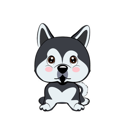 Vector Stock Illustration isolated Emoji character cartoon dog embarrassed, shy and blushes sticker emoticon. dog Alaskan Malamute  イラスト・ベクター素材