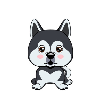 Vector Stock Illustration isolated Emoji character cartoon dog embarrassed, shy and blushes sticker emoticon. dog Alaskan Malamute Illustration