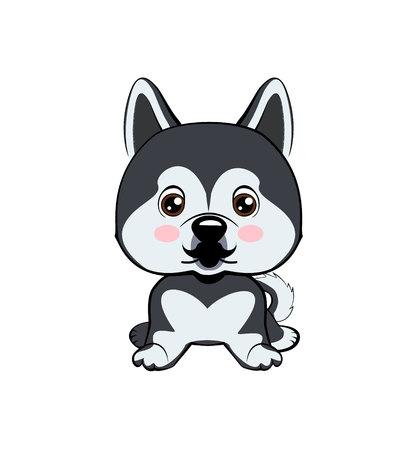 Icon dog breed dog. The puppy has a curvy mustache. dog Alaskan Malamute