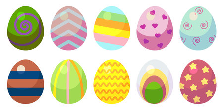 a set of eggs with patterns. Ten eggs with different patterns of different colors. Vector cartoon style set