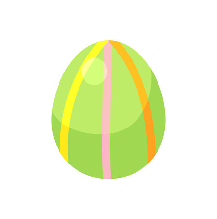Dark blue striped easter egg with green and red diagonal lines vector illustration for kids flat design on white background