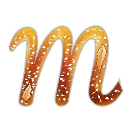 Pretzel alphabet letters isolated on white. Cartoon food font.