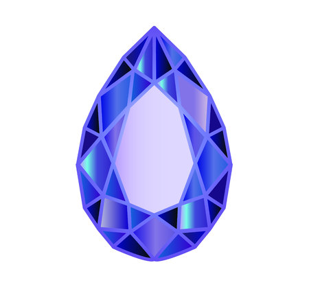 gemstone, diamond in the form of a pear drop of blue Vecteurs