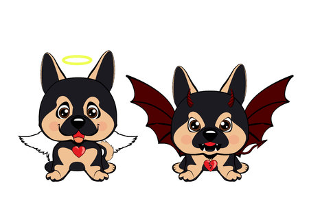 Devil Dog with horns and bat wings and happy dog angel. German Shepherd.