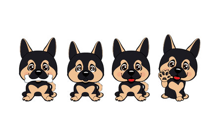 set of different little dogs. Brown puppies with different emotions. German Shepherd.