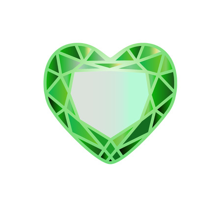 gemstone, diamond in the form of a heart of green