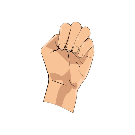 a female hand with bent fingers in a fist. Illustration