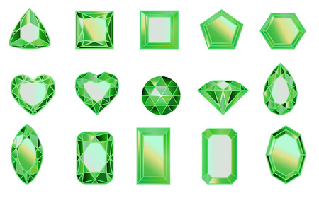 set of gems, diamonds of GREEN. Set of diamonds of different cut shapes