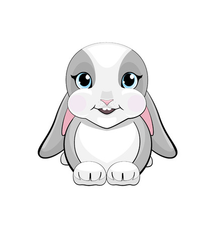 cute rabbit with pubescent ears with emotion of happy. little gray bunny sitting and looking