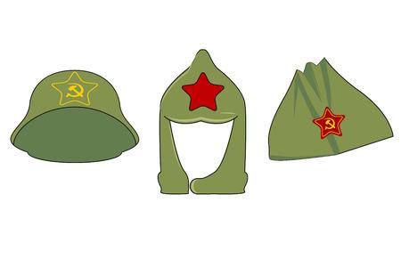Coiffures à l'époque de l'Union soviétique. 3 casquettes avec les symboles de l'URSS. Chapeaux verts de l'Armée rouge avec des étoiles, une faucille et un marteau