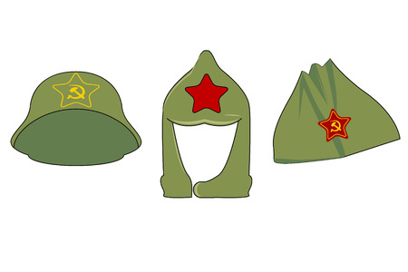 Headgear in the era of the Soviet Union. 3 caps with the symbols of the USSR. Green hats of the Red Army with stars, a sickle and a hammer