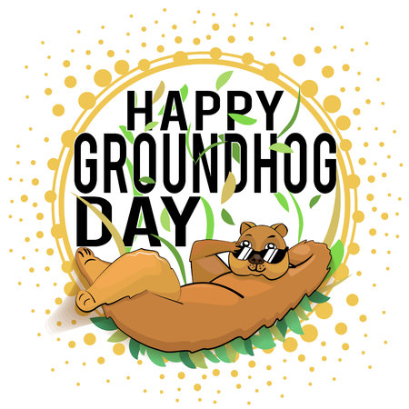 Happy Groundhog Day design with cute groundhog. marmot lies on leaves hand behind head other hand corrects sunglasses