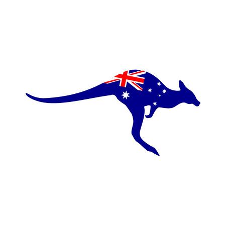 Silhouet van een kangoeroe met de vlag van Australië