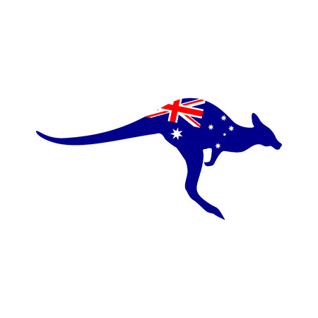 Silhouette of a kangaroo with the flag of Australia Stock Vector - 107573752