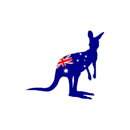 Silhouette of a kangaroo with the flag of Australia