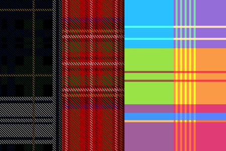 Set three patterns. Tartan pattern. Red background with blue, white, yellow, green, black and red stripes. Black Watch military tartan. The pattern of the Madras cell.  イラスト・ベクター素材
