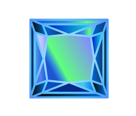 Diamond, precious stone cut square of blue 向量圖像