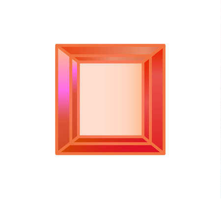 Diamond, precious stone cut square of red 向量圖像