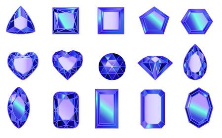 set of gems, diamonds of sapphirine. Set of diamonds of different cut shapes Ilustracje wektorowe