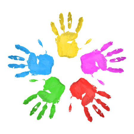Set. Handprints. Multicolored. A lot of For your design