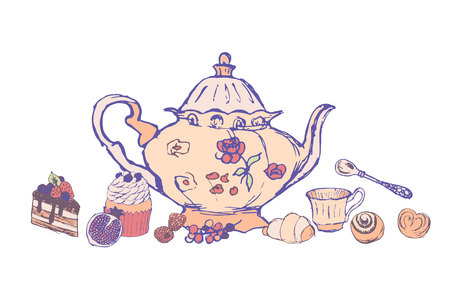 set for tea drinking from sketches. In a set of different attributes for tea and all sorts of delicacies (snacks), a piece, a cake, berries, a twig, a teapot, a cup, a roll, a croissant, a spoon Иллюстрация