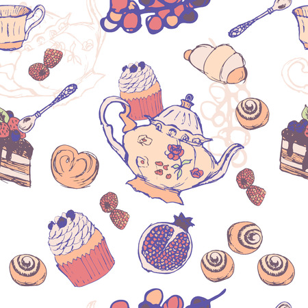 Tea Party Pattern From a Sketch on white background Illustration