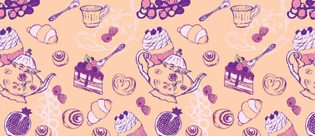 Tea Party Pattern From a Sketch on pink background
