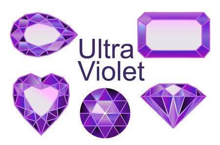 ensemble de pierres précieuses, diamants d'ultra violet. Ensemble de diamants de différentes formes de coupe