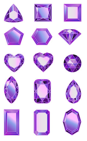 set of gems, diamonds of ultra violet. Set of diamonds of different cut shapes Vettoriali