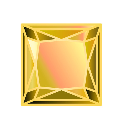 Diamond, precious stone cut square of yellow