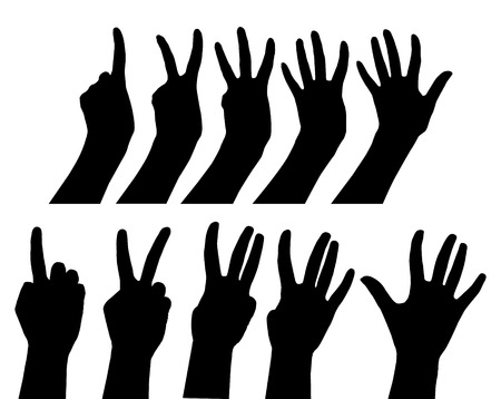 set of hands black gestures count one, two, three, four, five