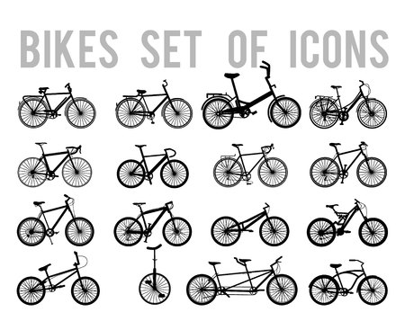 Bicycle or Different Types of Bicycle Icons Thin Line Vector Illustration Set