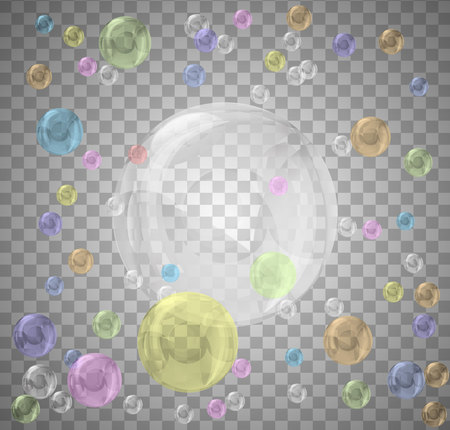 set of realistic color bubbles on transparent background. Vector.