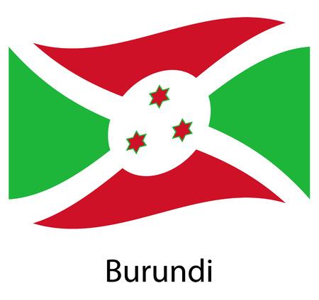Burundi flag. Isolated national flag of Burundi. Waving flag of the Republic of Burundi. Fluttering textile burundian flag.