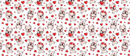 A pattern with small brown dogs with red hearts on a white background. Dogo Argentino dog Illustration