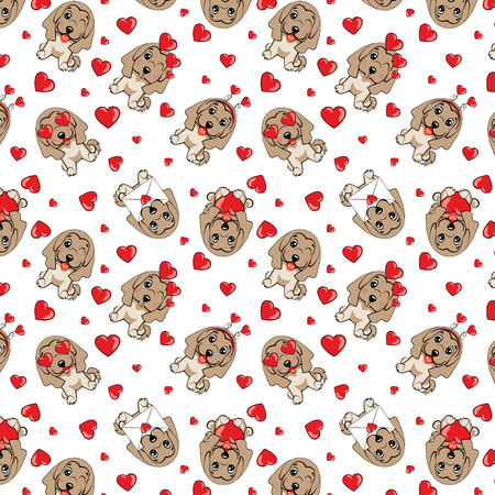 A pattern with small brown dogs with red hearts on a white background. Afghan hound breed.