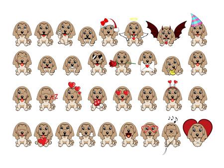 schizzo a colori di un cane. Razza levriero afgano. Grande insieme di diversi piccoli cani. cuccioli con emozioni diverse. Vettoriali