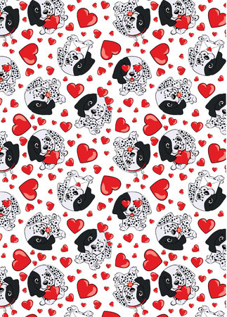 A pattern with small brown dogs with red hearts on a white background. Dog puppy english setter. Illustration